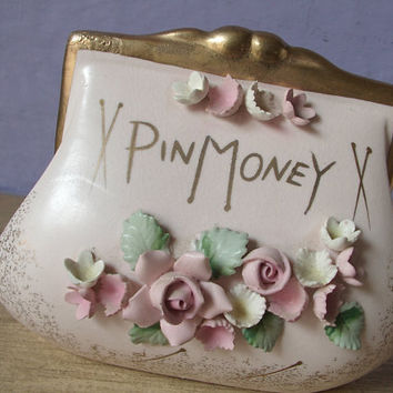 vintage 1950's Lefton Pin Money bank, shabby chic cottage bedroom decor, antique pink wedding gift for bride