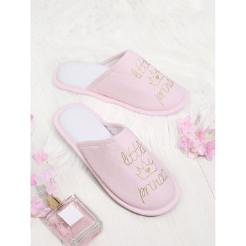 Letter & Crown Embroidery Flat Slippers