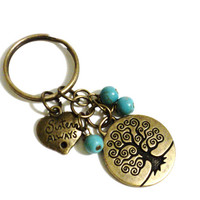 Turquoise Sisters Always Keychain Bag Charm Yoga Accessories Friends Forever Bestie Tree of Life Christmas Stocking Stufffer
