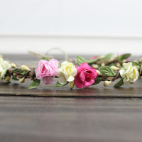 Ivory Rose Flower Crown, Rustic Wedding Crown, Flower Girl Crown, Wedding Hair Wreath, Bridal Flower Crown, Floral Girls Flower Crown