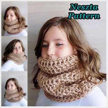 Crochet pattern, Crochet cowl scarf pattern, Cream scarf, Cowl scarf pattern, Easy Crochet Pattern, Child cowl scarf pattern, Woman scarf