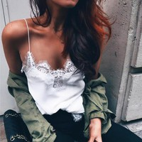 Eyelash Lace Strap Solid Color Vest Tank Top Cami