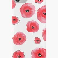 'Red Poppies' iPhone Case/Skin by kroksg