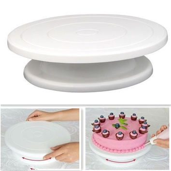 Kitchen Cake Decorating Icing Rotating Turntable Cake Stand White Plastic