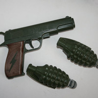VINTAGE 45er Toy Gun by ARCO, And 2 Cap Hand Grendades from the 1980's, Toy Grenades
