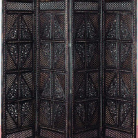 Benzara Master Piece 4 Panel Room Divider Carved with Wood Screen