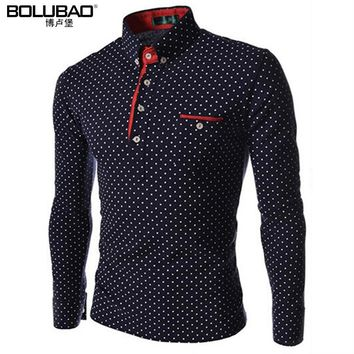 2017 New T-Shirt Men Fashion Brand Clothing Quality Men Long Sleeve T Shirt Cotton  Male Shirt Polka Dot Cotton Slim Top Tees