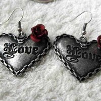 Vintage Silver tone Love Heart&Red Rose Drop Earrings at Online Cheap Vintage Jewelry Store Gofavor