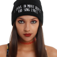 I Speak In Movie Quotes And Song Lyrics Watchman Beanie