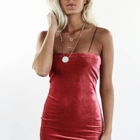 All That Sleeveless Red Velvet Mini Dress