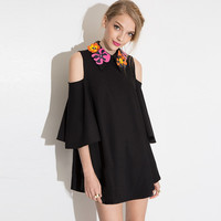 Black Floral Collar Off-shoulder Mini Dress