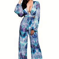 Print V-neck Long Sleeves Long Bandage Jumpsuit