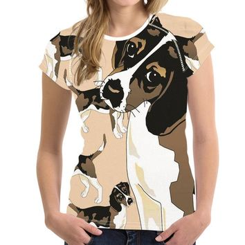 Beagle Cut face Dog All-Over-Print T-Shirt - Ladies Tops