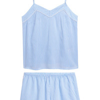 Pajama Top and Shorts - Light blue/striped - Ladies | H&M US
