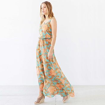 Blue Floral Print Backless Maxi Dress