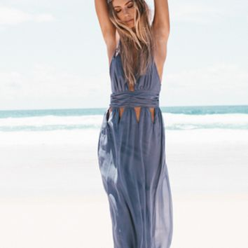Cut Out Waist Strappy Maxi Dress in Gray or Black