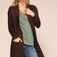 Kokette Long Cardigan - Chocolate