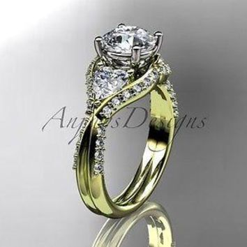 "Unique 14k yellow gold diamond engagement ring ""Forever One"" Moissanite ADLR319"