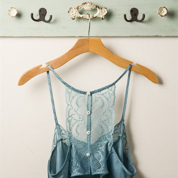 Satin Lace Top - Slate