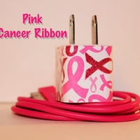 PINK CANCER RIBBON iPhone Charger by PersonalPower on Etsy
