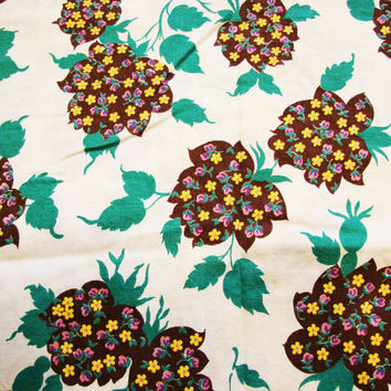 "Vintage 1940s Fabric Cotton Leaves Brown and Green with tiny flowers 34"" wide"