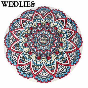 Round Indian Mandala Beach Towel Throw Blanket Mat Bedspread Wall Hanging Tapestry Home Room Floor Decor Rug Home Textiles
