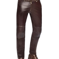 Versace - Leather biker trousers