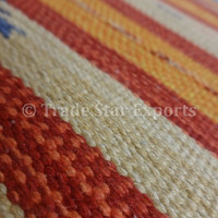 Handmade Cotton Rug, Door Mat, Size : 1.5' x 2 Feet, Hand Woven Kilim Pattern, Multi Color Durrie, Made by Artisians of Rural India