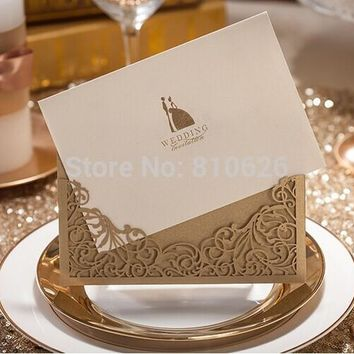 Free Shipping 25pcs Champagne Gold Brown laser cut wedding invitation card with envelope,blank inside card wedding favors