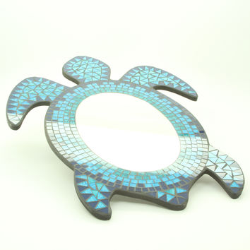 Hanging Mosaic Sea Turtle Wall Mirror