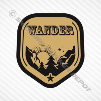 Wander Mountain Gold Bumper Sticker Vinyl Decal Car Hiking Macbook Outdoor Camp