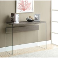 Dark Taupe Reclaimed Look & Tempered Glass Sofa Table