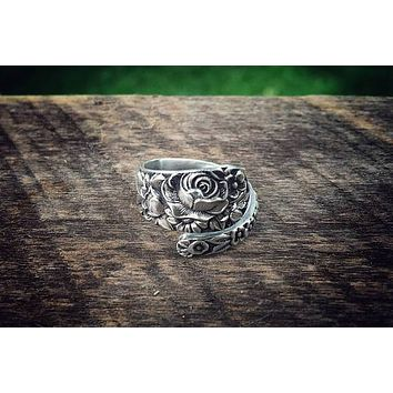 Antique Wild Rose Sterling Spoon Ring