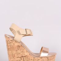 Bamboo Metallic Open Toe Platform Wedge