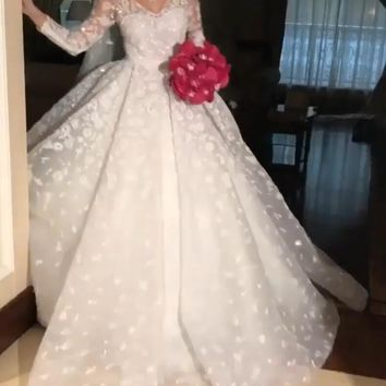 Eslieb Custom made Lace Wedding Dress 2018 A Line V-neck Wedding Dresses Vestido de Noiva