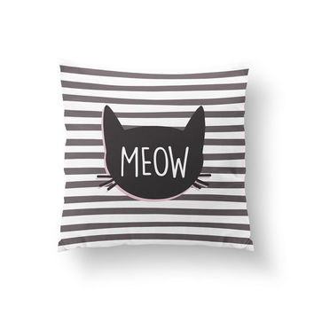 Kitty Pillow, Meow Cat, Kids Pillow, Home Decor, Cushion Cover, Throw Pillow, Bedroom Decor, Bed Pillow, Decorative Pillow, Nursery Decor,