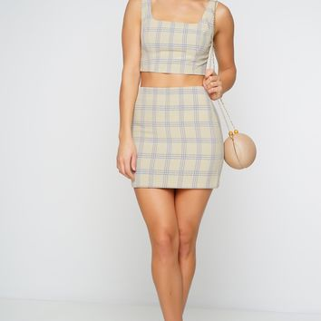Cher Mini Skirt - Nude Plaid