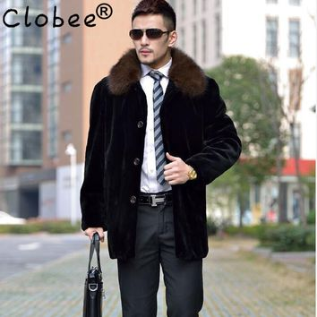 New 2017 Winter Mens Vintage long Black Jacket Coats long sleeve Man Thicken Warm Faux Mink Fur Collar Overcoats Plus Size WR676