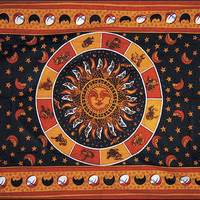 Sun With Zodiac Tapestry