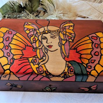 Polish Hand Carved & Decorated Wooden Fairy Keepsake Jewelry Box