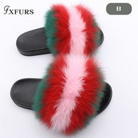 FXFURS 2018 Fashion Female Spring Fox Fur Slides Summer Sandals Women Real Fox Fur Slippers Muticolor Patchwork Fur Slippers