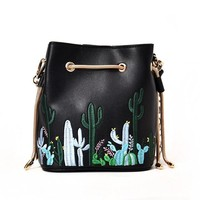 Cacti Embroidery Bucket Handbag - Black