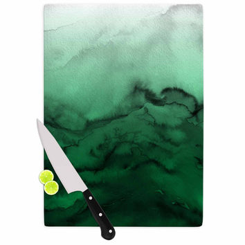 "Ebi Emporium ""Winter Waves 7"" Green Black Cutting Board"