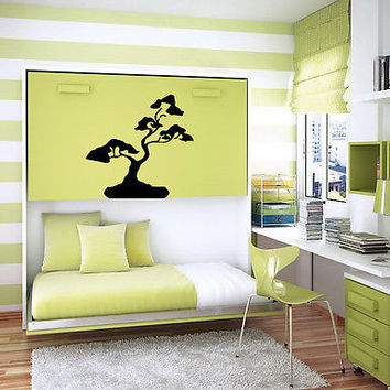 WALL VINYL STICKER  DECALS ART MURAL BONSAI TREE FLORAL DESIGN  B41