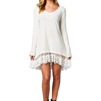 Oversized Long Sleeve Lace Trimmed Tunic Dress