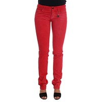 Red Cotton Stretch Slim Jeans