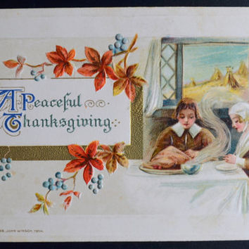 Thanksgiving Postcard, Samuel Schmucker, John Winsch, Pilgrims, Winsch Schmucker Thanksgiving, Antique Postcard, Thanksgiving Ephemera