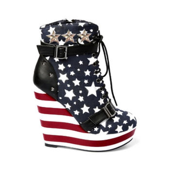 USA Studded Womens Booties Custom Iron Fist Wedge Lace Up Booties
