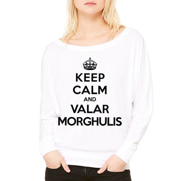 Keep calm and Valar Morghulis WOMEN'S FLOWY LONG SLEEVE OFF SHOULDER TEE