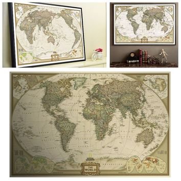 Vintage Retro Paper World Map Poster Children Gifts Wall Chart Decor